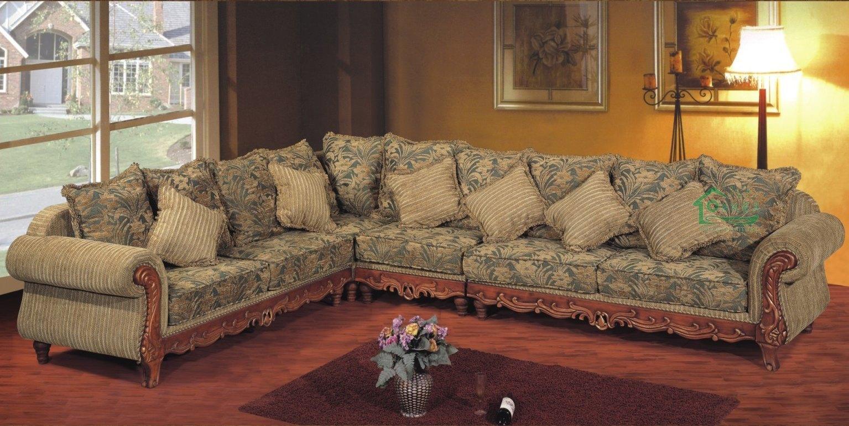 de madeira da tela (YF D135) –Sofá de canto clássico de madeira  #AE7D1D 1535x770