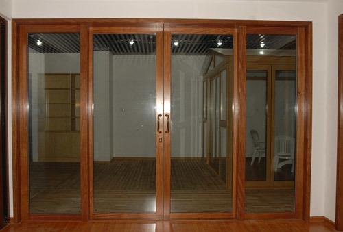 Puerta deslizante de aluminio del color de madera puerta - Puertas de aluminio color madera ...