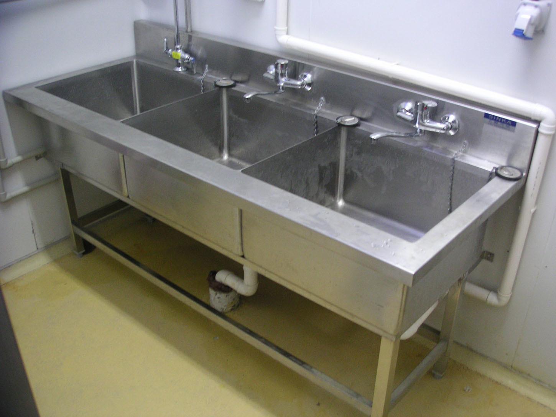 Vier de l 39 acier inoxydable 3 compartment sksc 04 vier for Equipement de cuisine commerciale