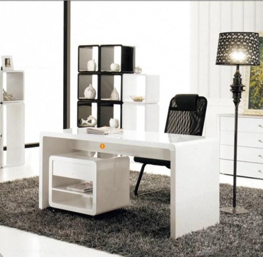 Bureau en bois blanc de meubles la maison modernes wlf for Bureau bois blanc
