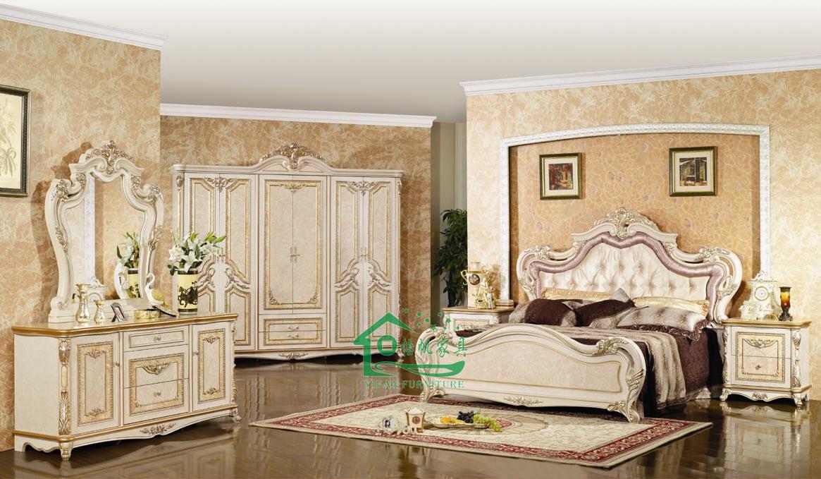 Het klassieke meubilair van de slaapkamer met de gesp en stof bedhead van het kristal yf w819a - Meubilair van de ingang spiegel ...