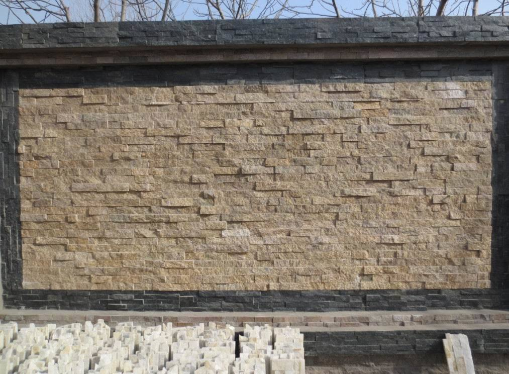 Recubrimiento de paredes de piedra amarillo de la cultura - Recubrimiento de piedra ...