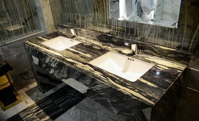 Dessus de marbre noir et blanc de vanit de double vier dessus de marbre noir et blanc de - Marbre noir et blanc ...