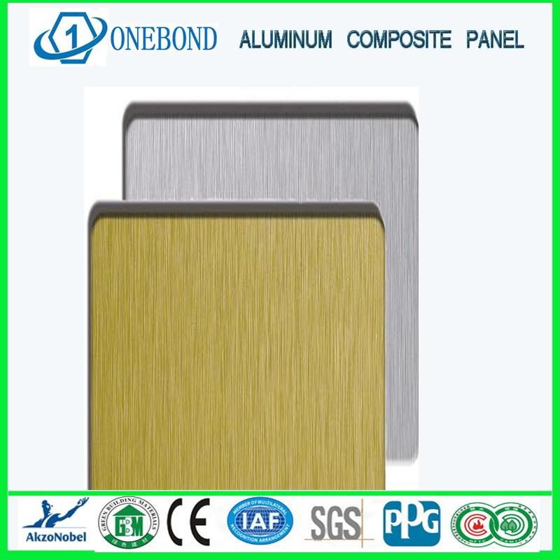 El oro y la plata cepillado panel compuesto de aluminio - Cerramientos de aluminio precio por metro cuadrado ...