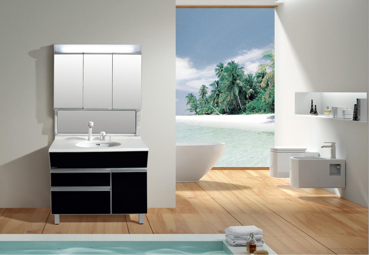 Vanit noire de salle de bains avec le cabinet de miroir for Cabinet de salle de bain
