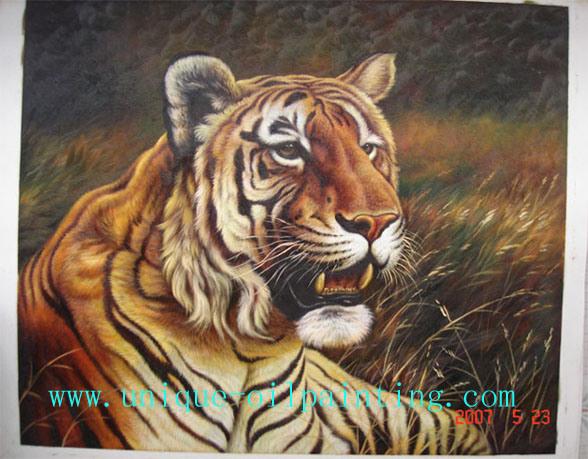 Pintura al óleo, pintura al óleo animal, pintura al óleo del tigre ...