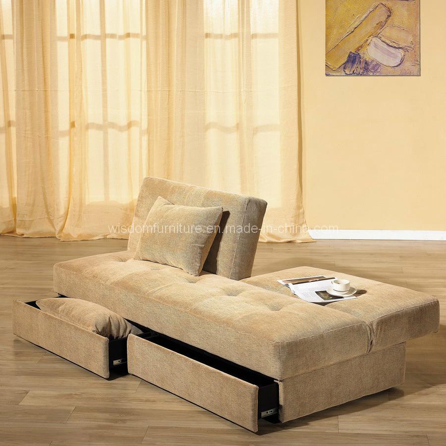 Cama de sof plegable de la tela moderna con el almacenaje for Sofa cama con almacenaje