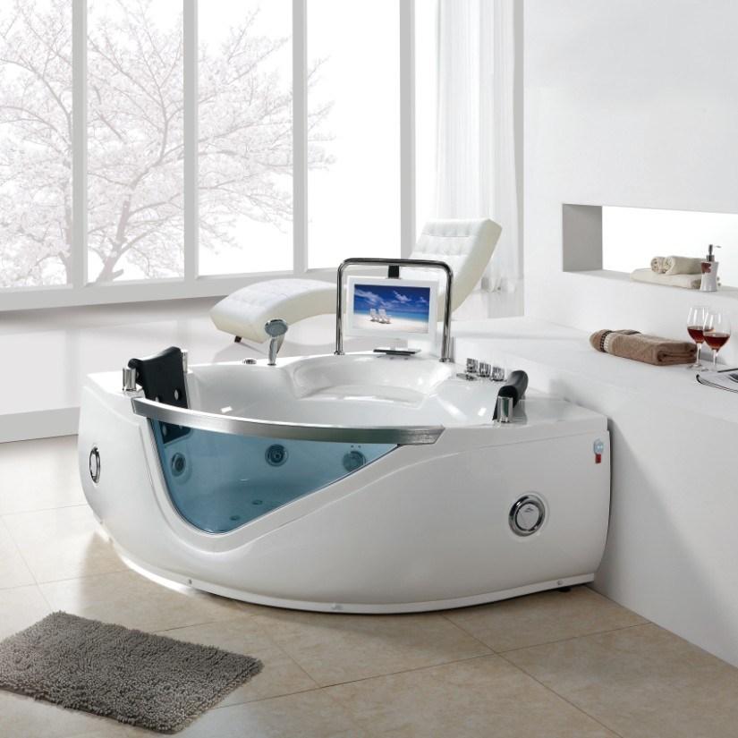 Vasca da bagno per due persone d'angolo del mulinello del CE 15.6inch TV (BF-8803) – Vasca da ...