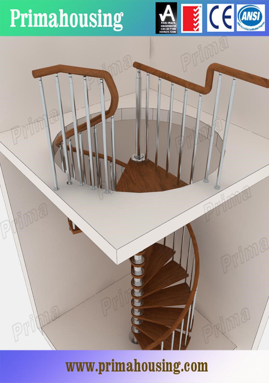 interior moderno de madera maciza escalera de caracol con rod baranda