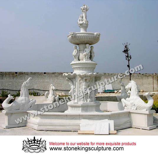 Fuente de m rmol fuente de piedra tallada y fuente al - Fuentes de marmol para jardin ...
