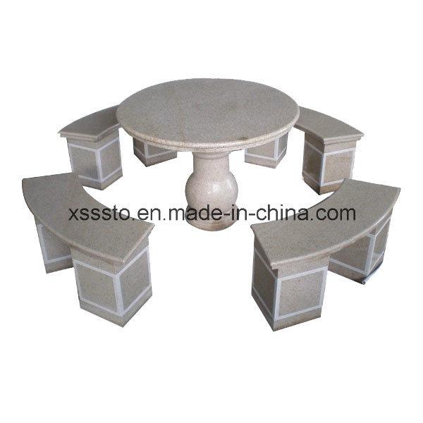 Mesa de granito y bancos para decoraci n de jard n mesa for Bancos de granito para jardin