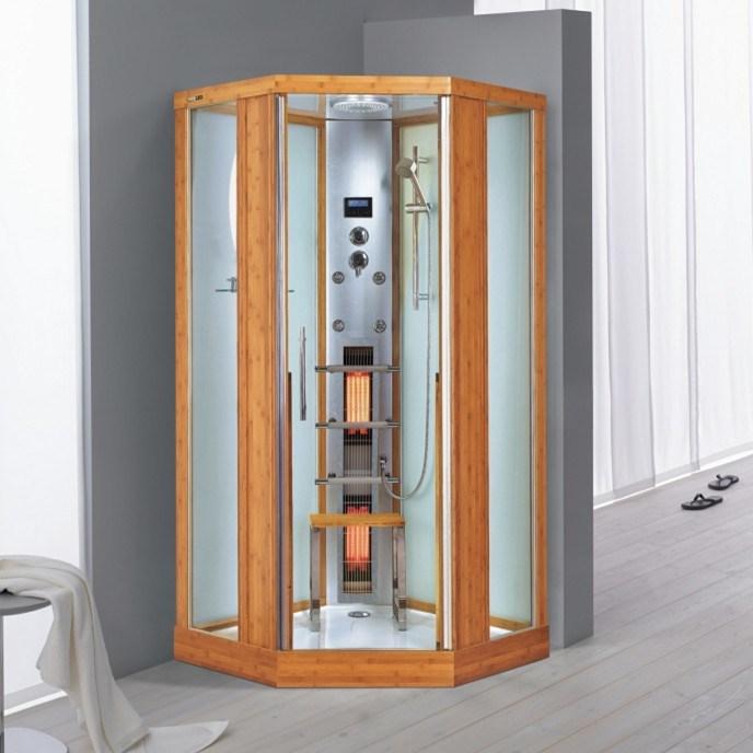 de zaal van de douche van de stoom van het bamboe van de douche de sauna van de stoom de reeks. Black Bedroom Furniture Sets. Home Design Ideas
