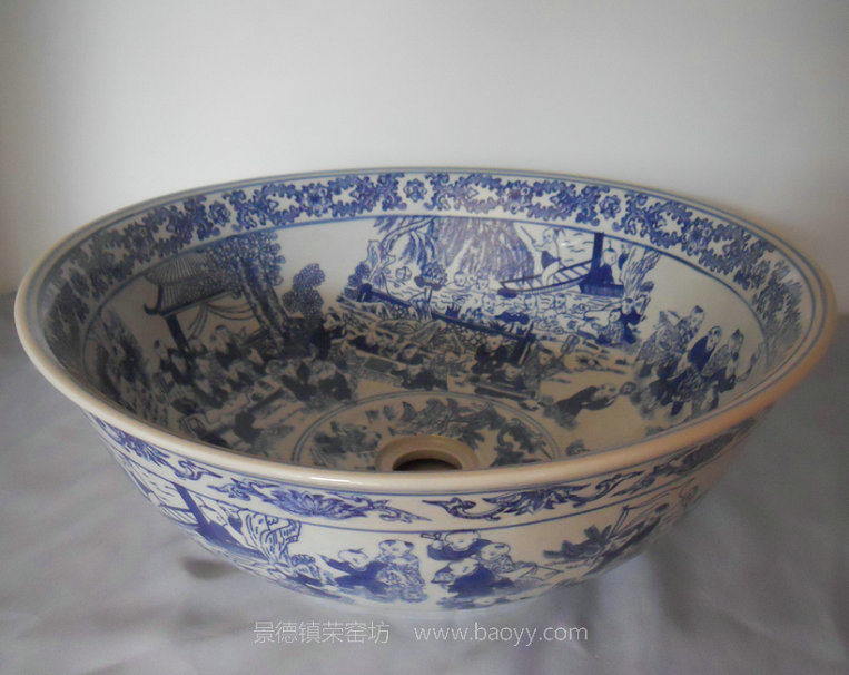 Fregadero azul y blanco del cuarto de ba o de la porcelana for Fregaderos de porcelana