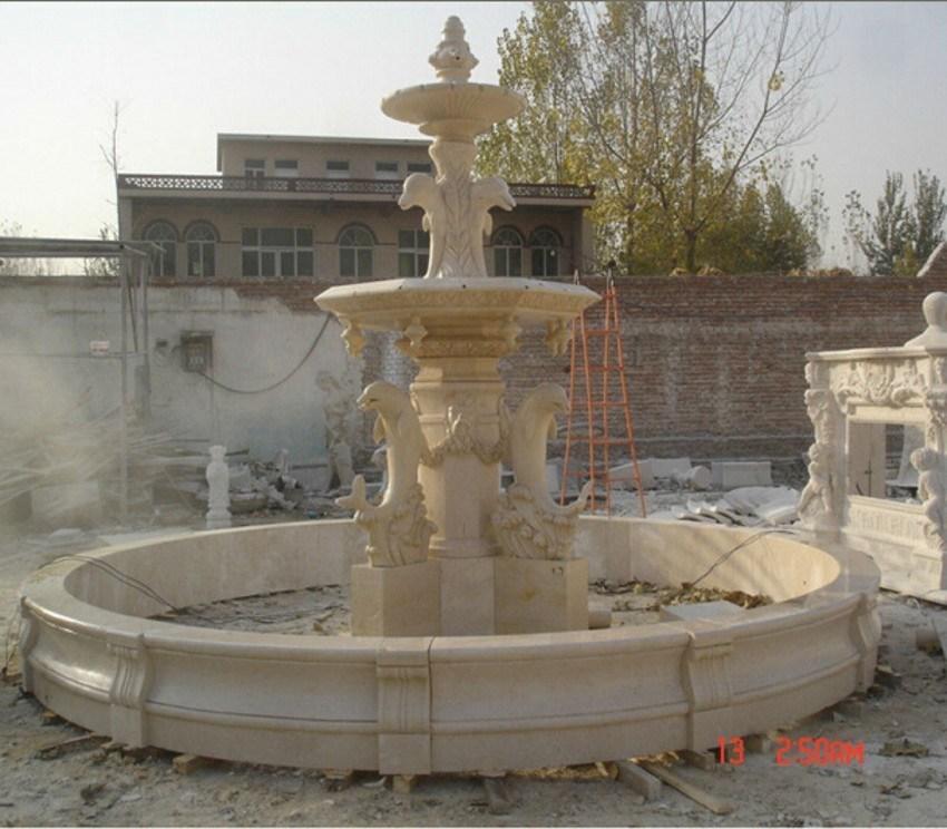Fontana di acqua di pietra di marmo beige del delfino for Fontana artificiale
