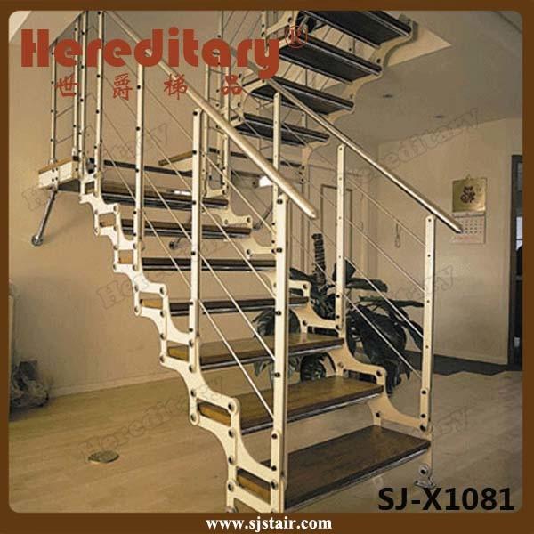 Escalera recta de interior elegante para el diseño del pasamano de ...