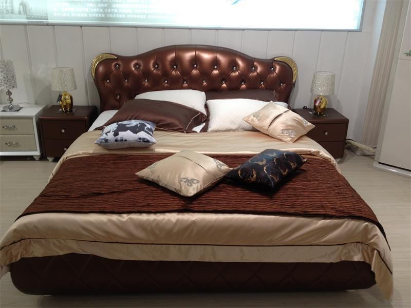 Cama de couro nova da mob lia do quarto cama de couro for Mobilia international