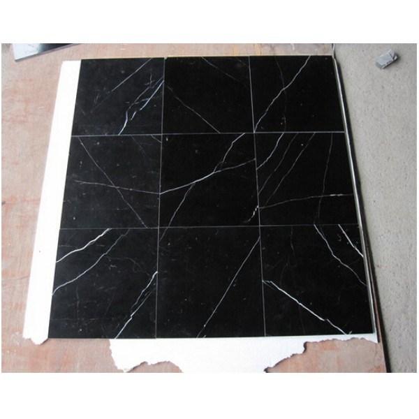 Azulejo de suelo de m rmol negro de piedra natural de - Azulejos de suelo ...