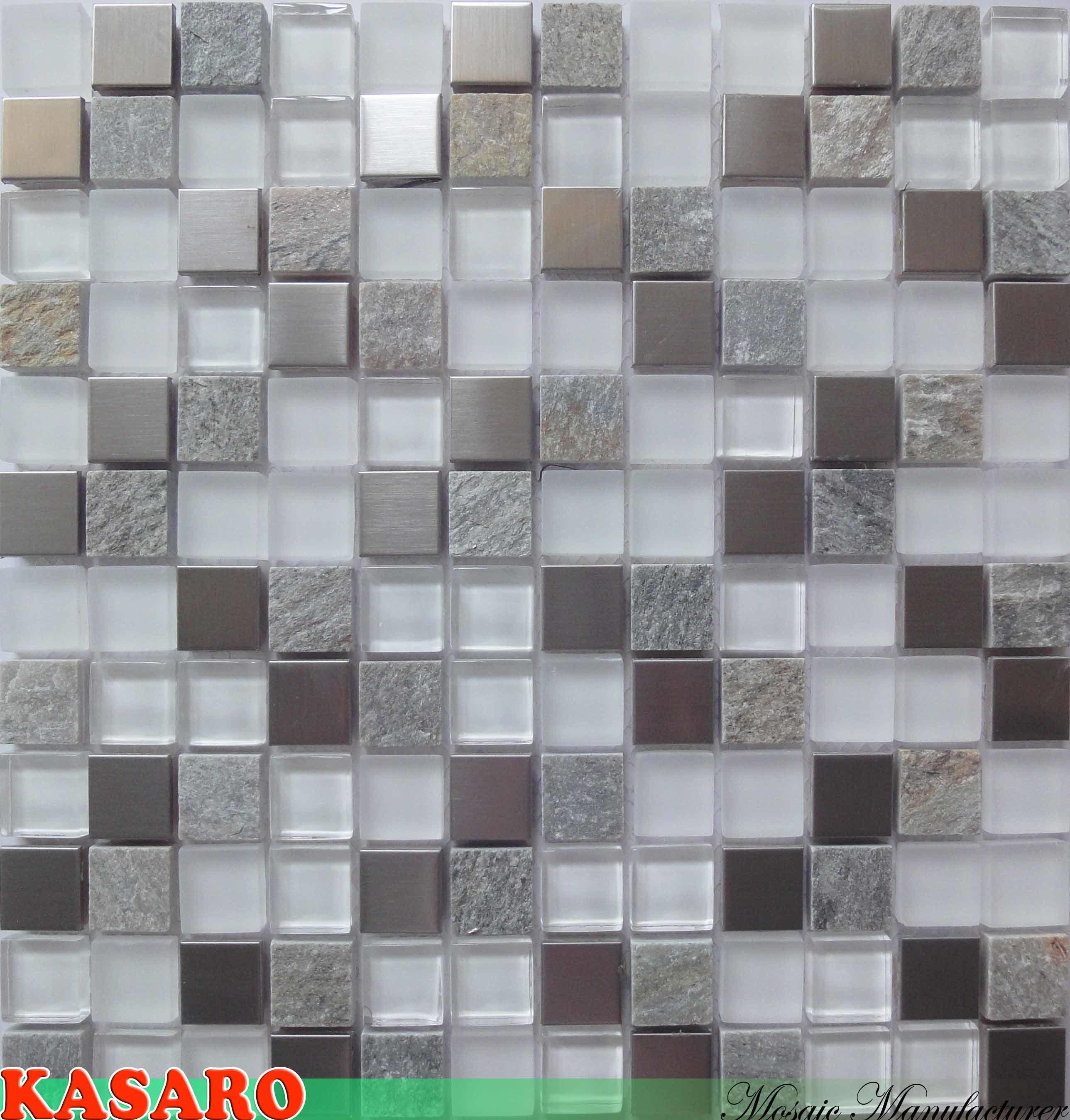 azulejo de cristal mezclado del acero inoxidable del