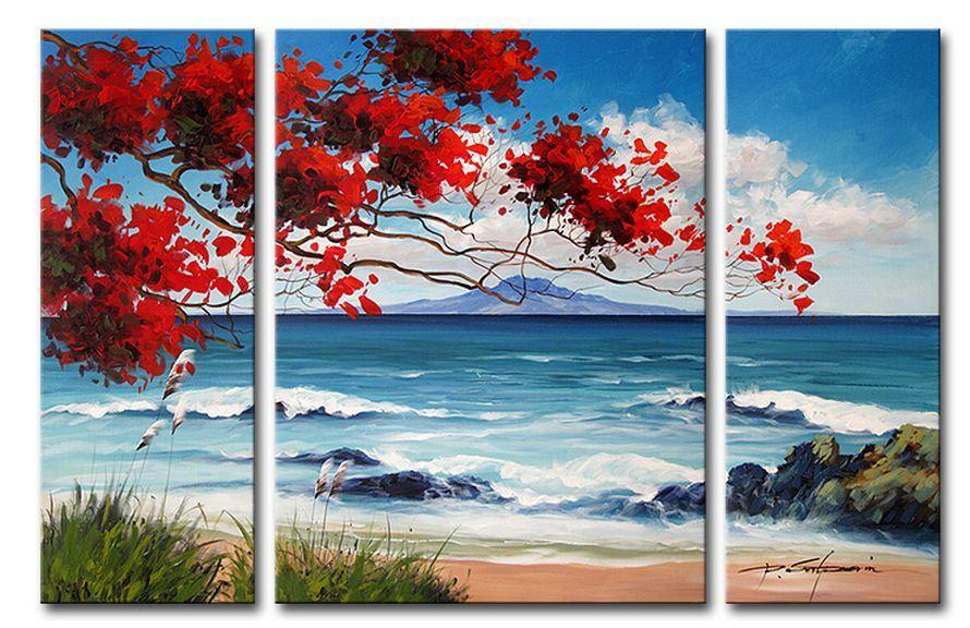 Peinture l 39 huile moderne de paysage marin de bateau peinture l 39 h - Peinture a l huile moderne ...