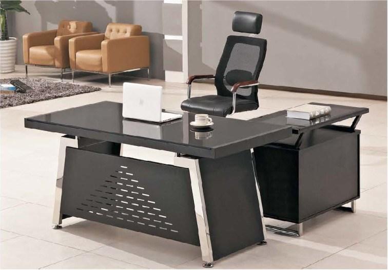 Bureau en verre moderne de directeur de meubles de bureau - Meuble bureau en verre ...