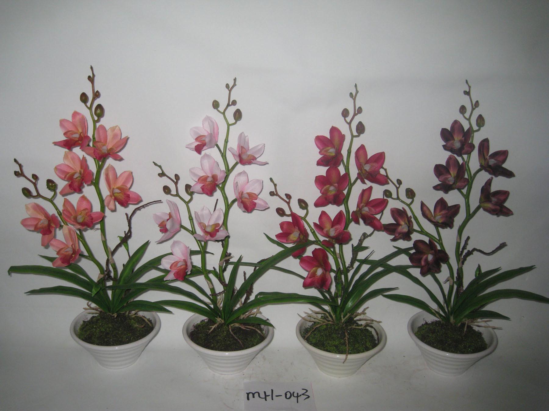 les orchid es artificielles de cymbidium de nouveau mod le avec plat le pot blanc pour la. Black Bedroom Furniture Sets. Home Design Ideas