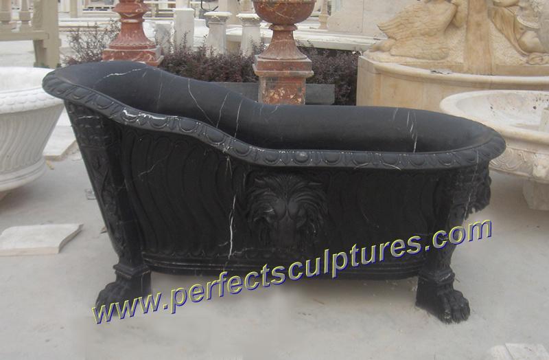 vasca da bagno classica della stanza da bagno della coltura antica con granito di marmo di pietra qbn040