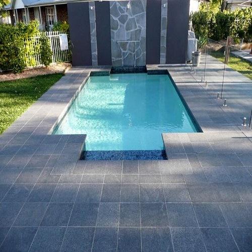 Mattonelle di pavimentazione nere nere del granito della for Pavimentazione della piscina