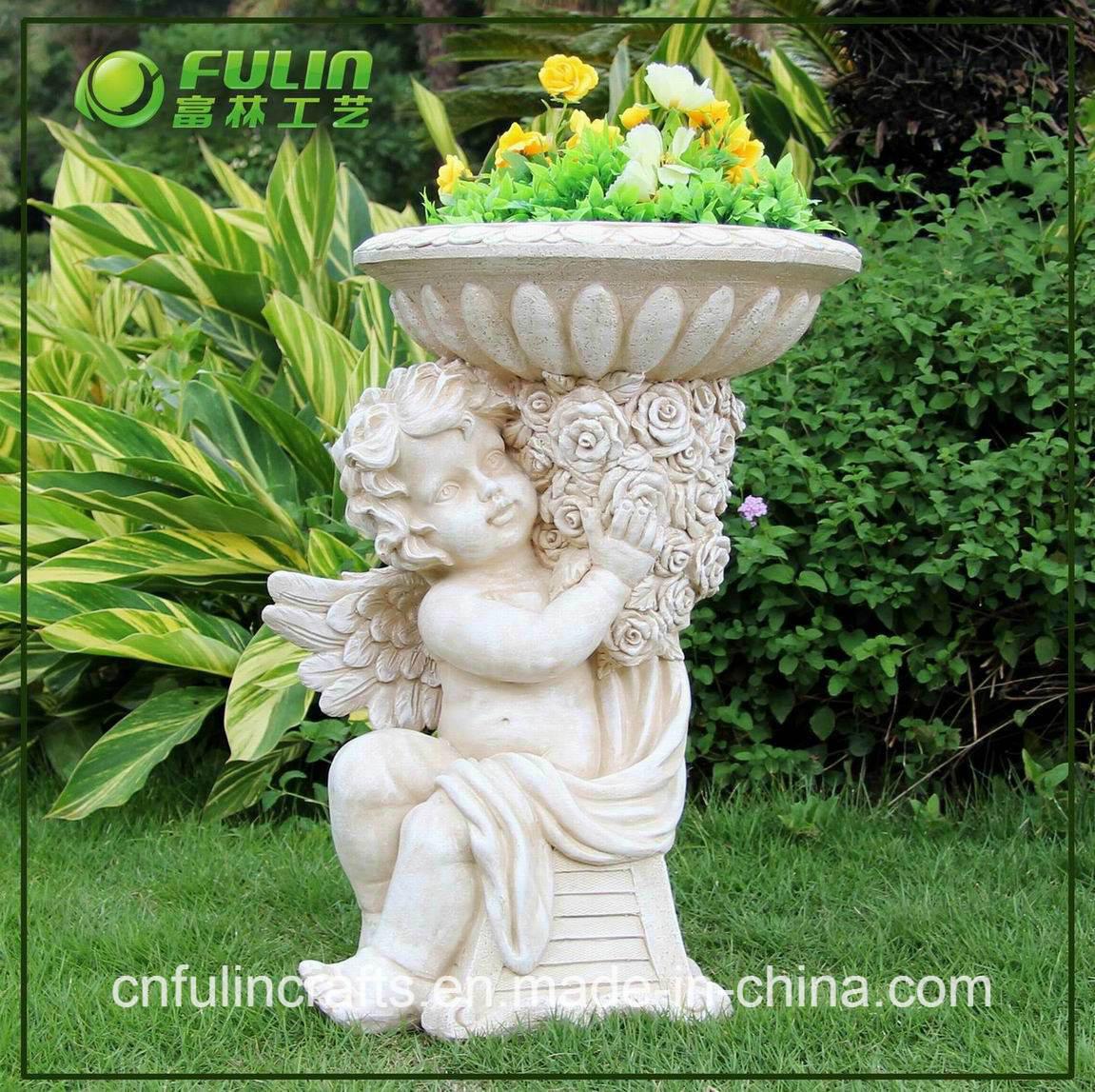 Pot de planteur de fleur de jardin d 39 ange de r sine - Pots en resine jardin ...