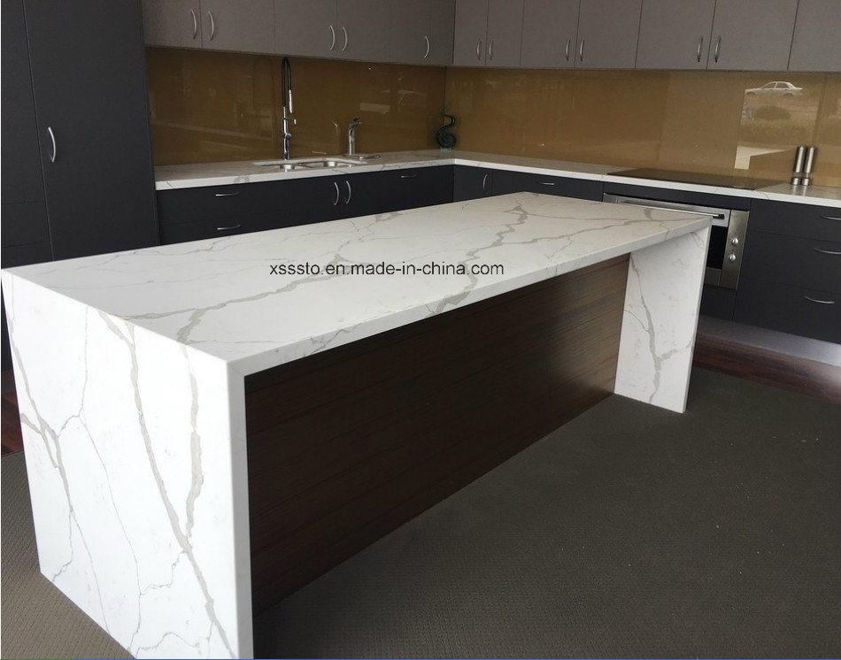 Prefabricada cuarzo blanco de piedra cocina de mesa para - Piedra para cocina ...