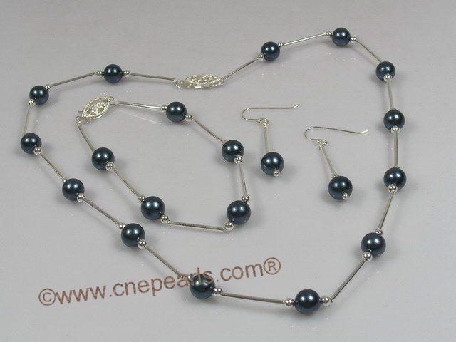 Pulseras chinas negras del collar de la perla de Akoya fijadas \u2013 Pulseras chinas negras del collar de la perla de Akoya fijadas proporcionado por Cnepearls
