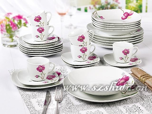 Vajilla cuadrado de la porcelana 30pcs servicio de mesa de for Vajilla porcelana