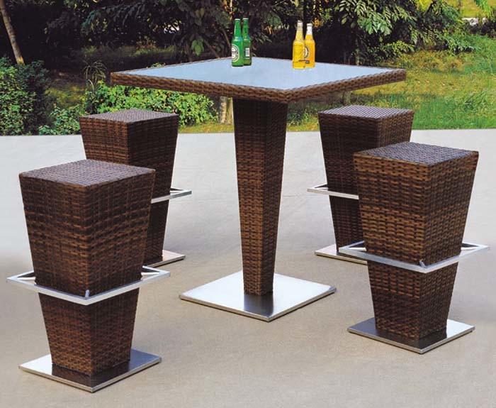 diseo moderno de ratn mesa de bar y taburete para muebles de exterior