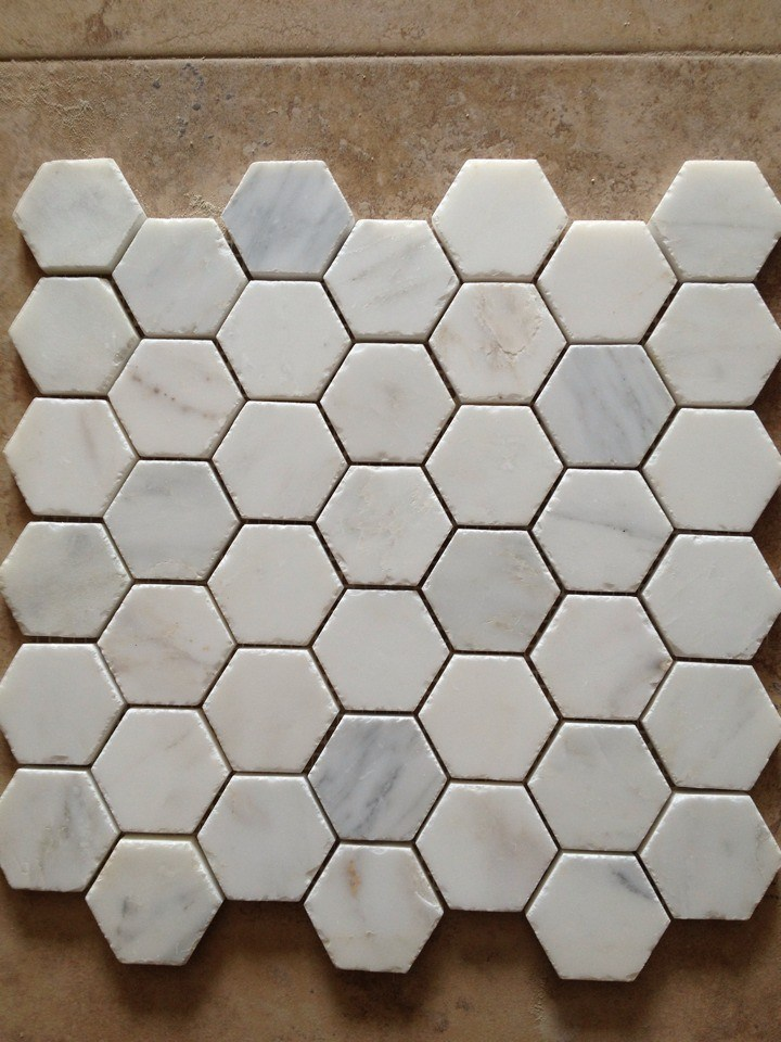 Hexagonal de m rmol blanco azulejos de mosaico hexagonal for Comedor hexagonal