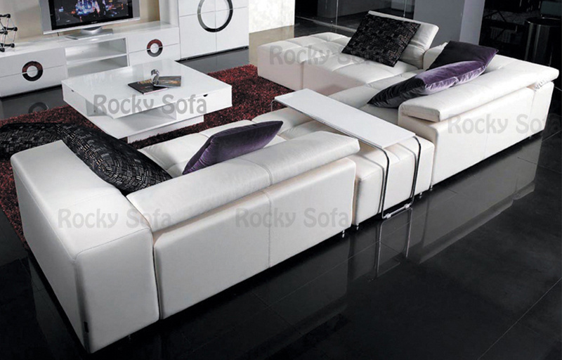 Sof casero de la esquina moderno del cuero del ocio de for Ocio muebles
