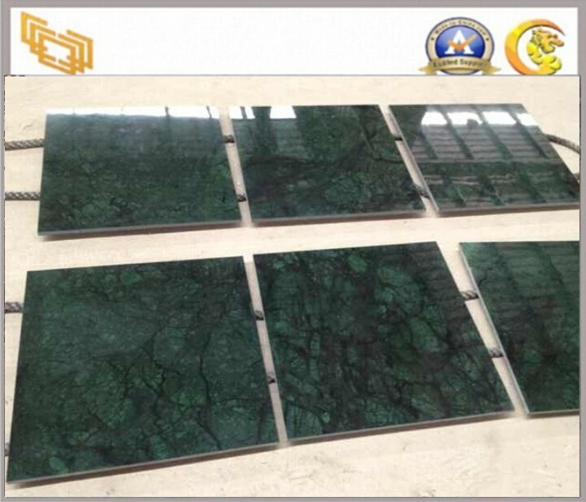 Azulejos de m rmol verde oscuro polished para el piso y la for Azulejos de marmol