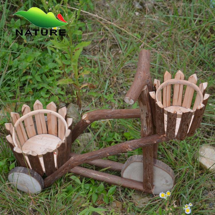 De ronde houten planter van de bloem van het wiel van de pot van de bloem de ronde houten - Tuin decoratie buitenkant ...
