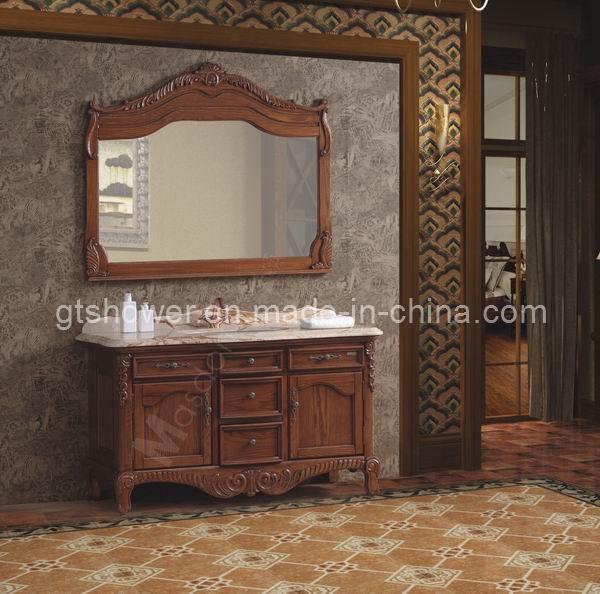 Cabinet de salle de bains debout de plancher en bois for Cabinet de salle de bain
