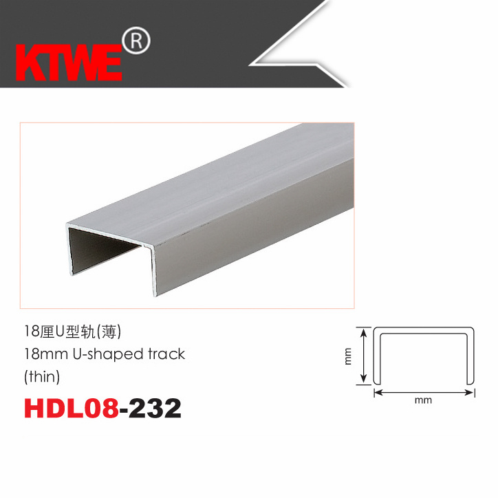 18mm aluminium profile u shaped door track paisseur moyenne hdl08 232 18mm aluminium - Profile en u ...
