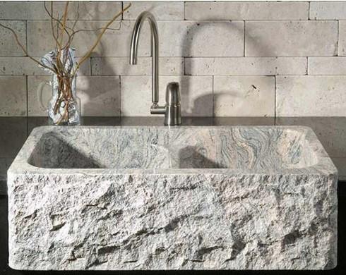 Lavabo taz n de fuente fregadero grises del granito del - Fregaderos de piedra ...