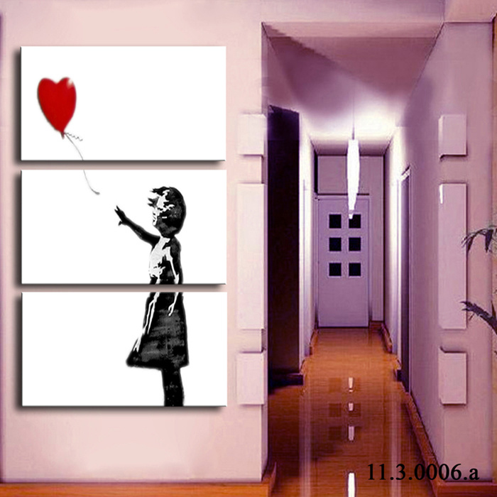 La toile de graffiti de banksy imprime la peinture l - Peinture facile a reproduire ...