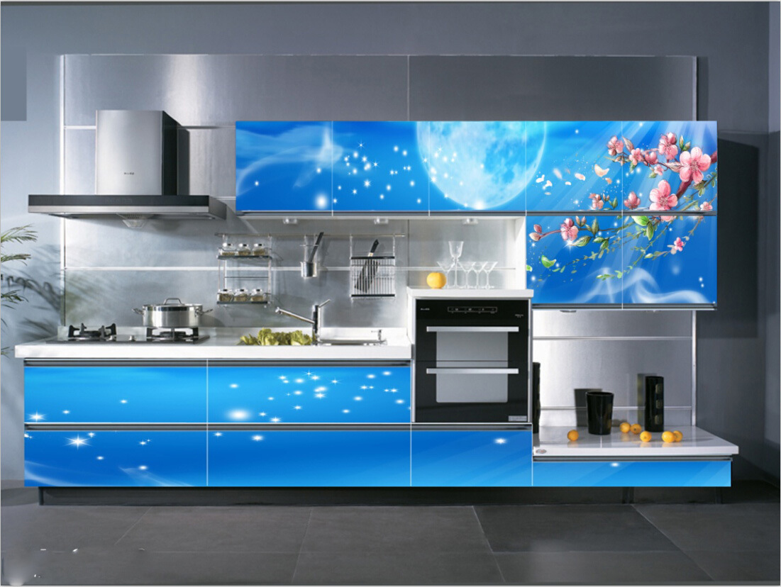Cabinet de cuisine 2016 3d en verre bleu photo sur fr.made in ...