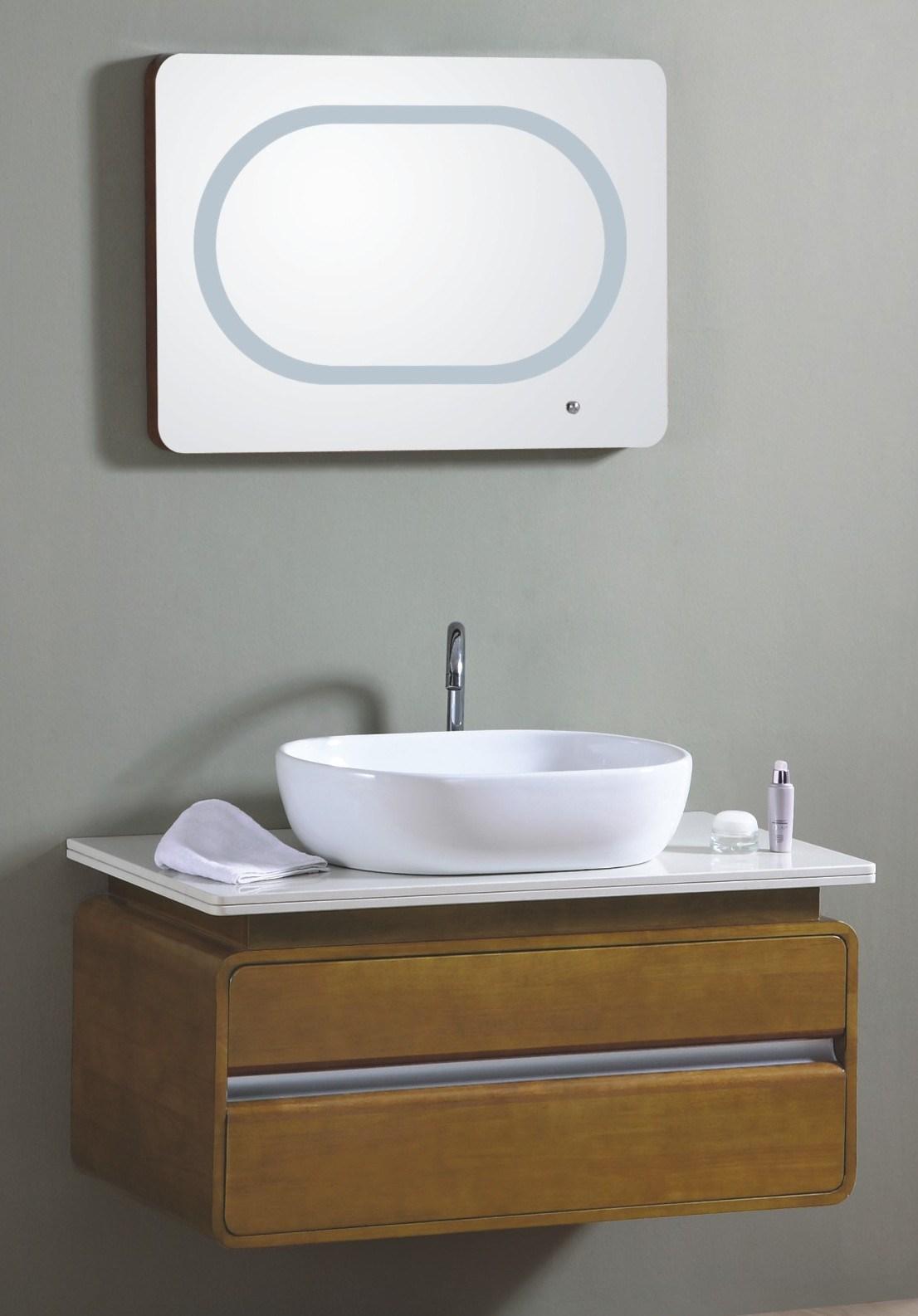 Armário de banheiro de madeira fixado na parede do único dissipador  #6D502F 1106x1586