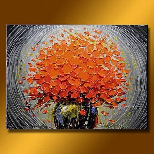 D coration moderne de fleur de peinture l 39 huile - Peinture fleur moderne ...