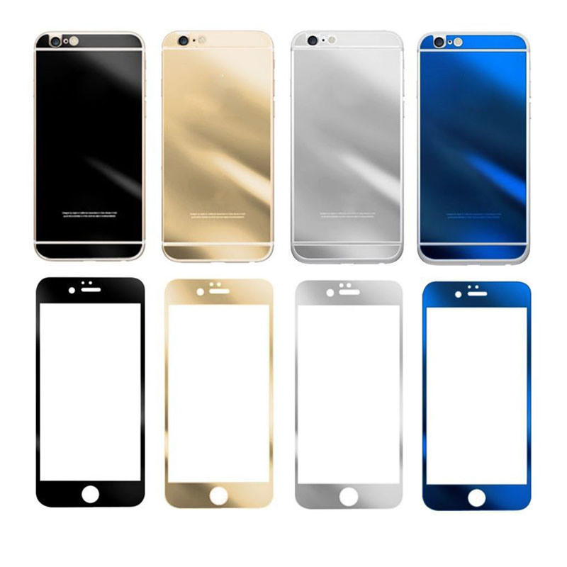 Miroir effect color real front back tempered glass for Application miroir pour iphone