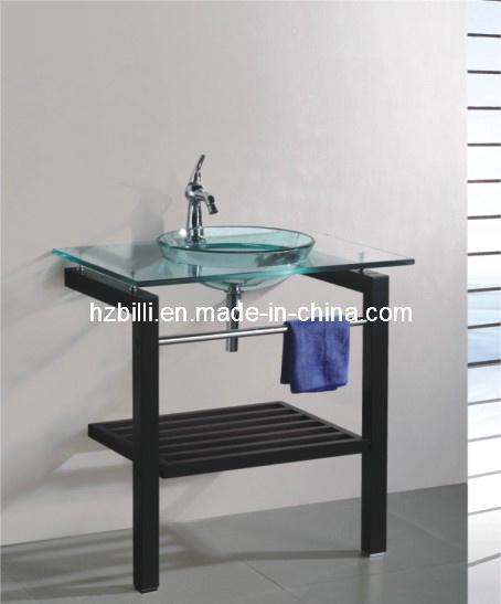 Lavabo de madera del vidrio del soporte del dise o redondo for Lavabo vidrio
