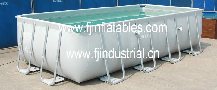Piscina retangular acima da piscina terra associa o for Piscina plastico rectangular