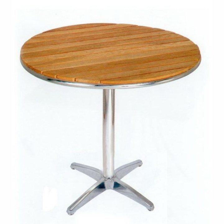 Mesa redonda de madera de aluminio de la ceniza de la teca - Mesa de madera redonda ...