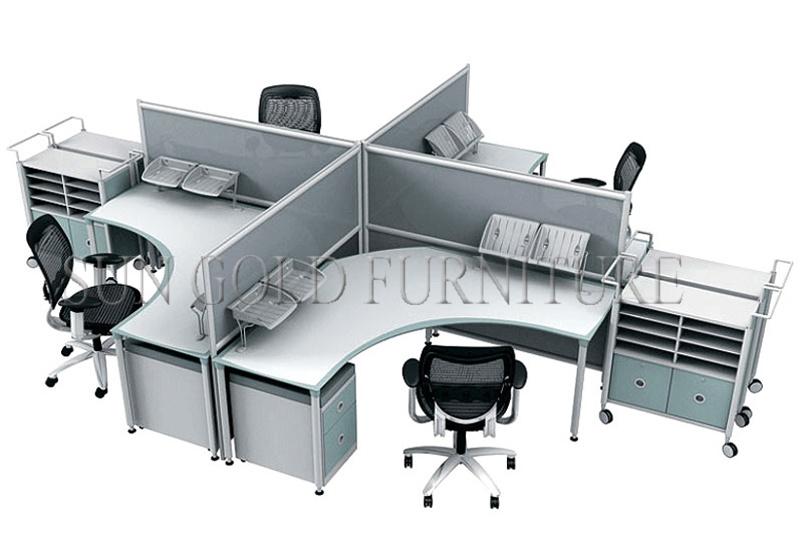 Populäre verwendete Büro-Möbel, kreuzen das 4 Personen-Büro-Partition (SZ-WS524) foto auf de ...