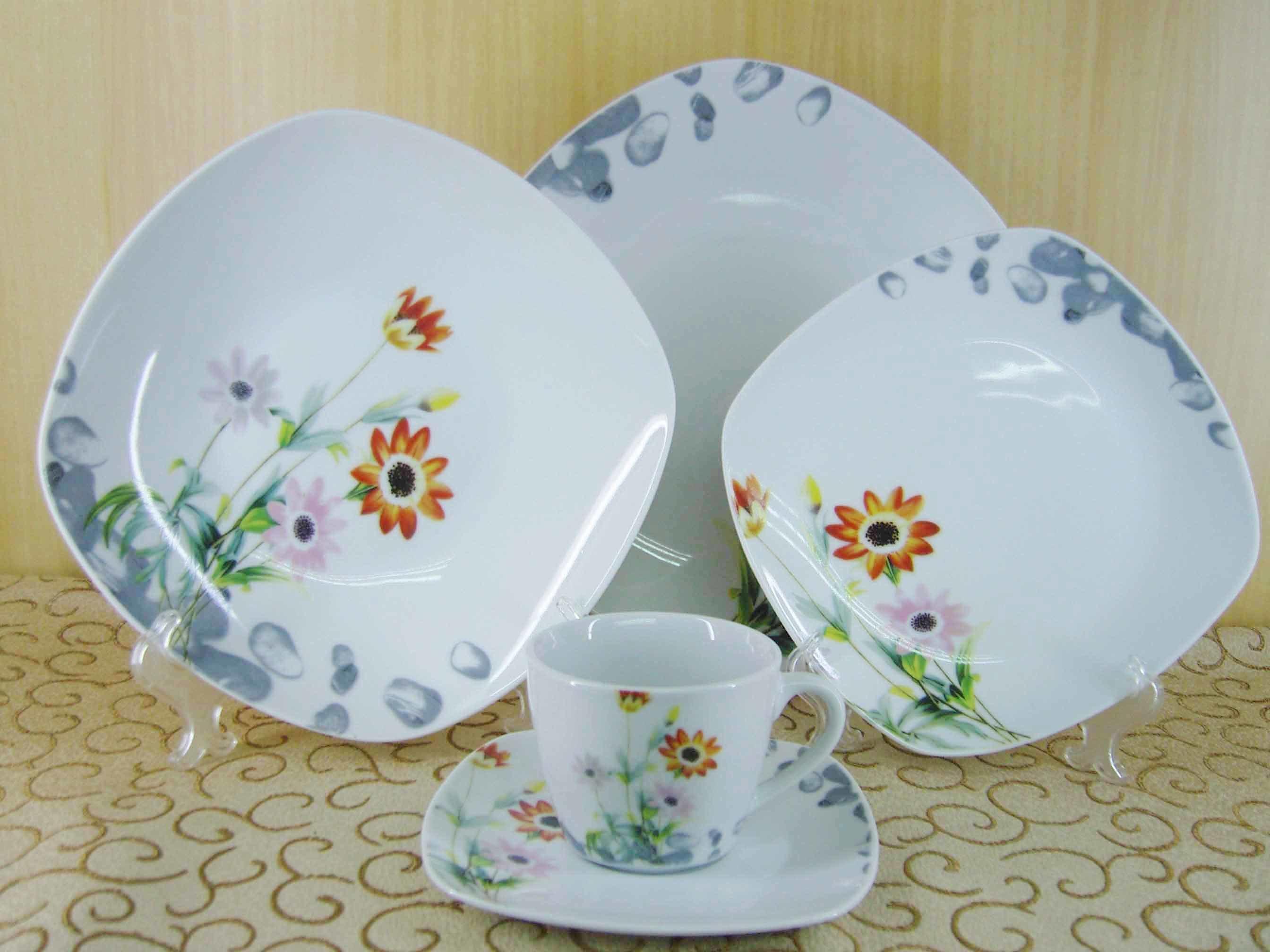 Vajilla cuadrado de la porcelana 20pcs servicio de mesa for Vajilla porcelana