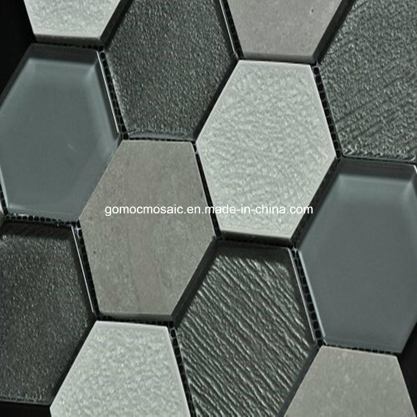 mosa que hexagonale de mur en verre d 39 paisseur de 8mm. Black Bedroom Furniture Sets. Home Design Ideas